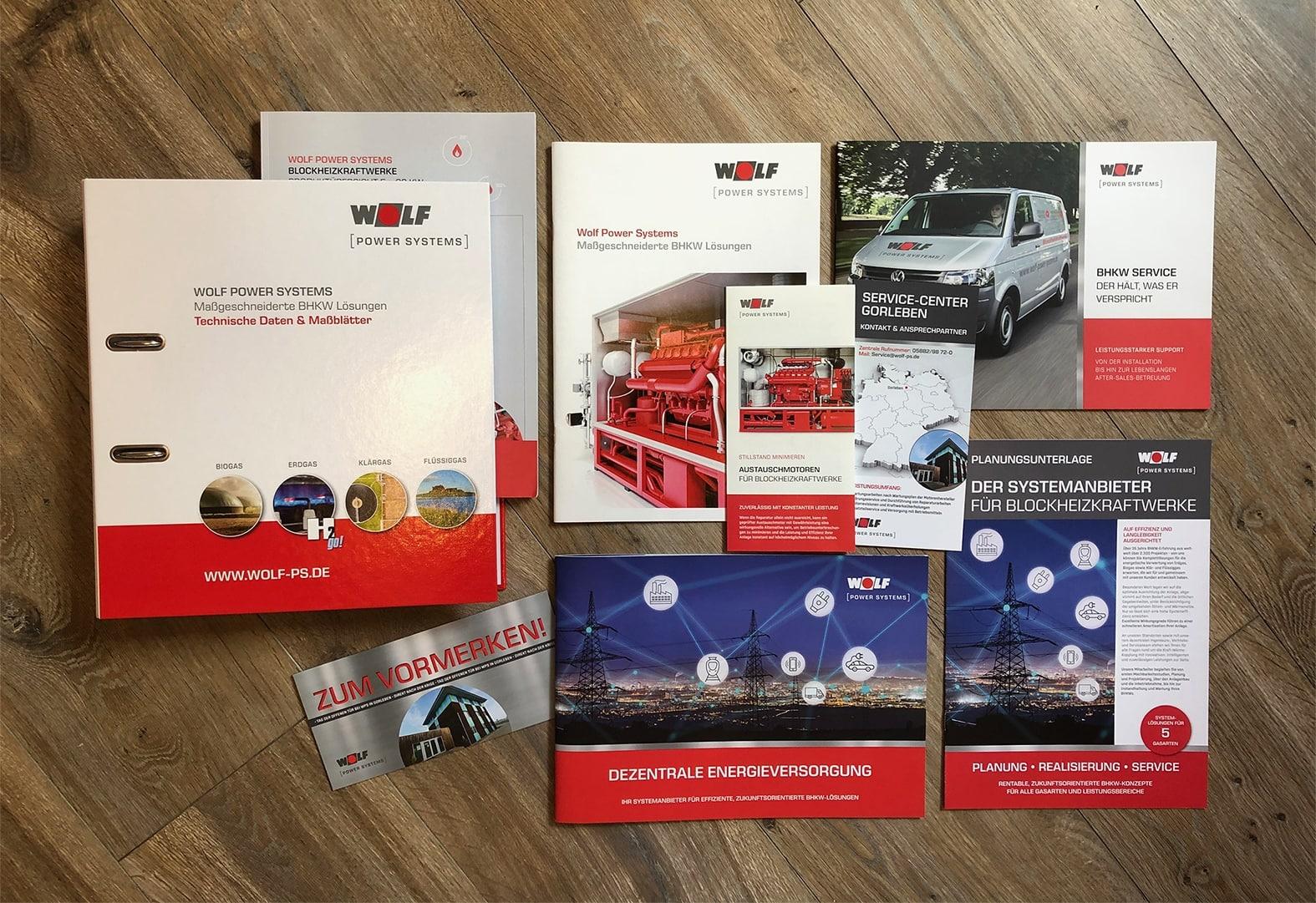 Wolf Power Systems  Corporate Design • Printunterlagen • Broschüren • Serviceblätter